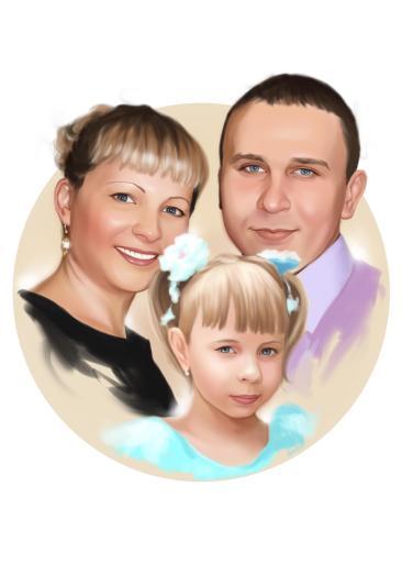 Семейный портрет по фото на холсте в Оренбурге — правильный подарок!
